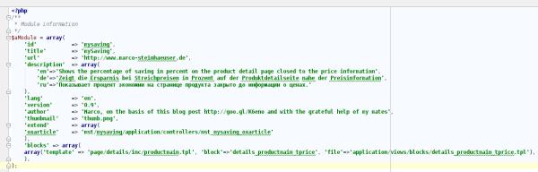 writing OXID modules saving metadata.php